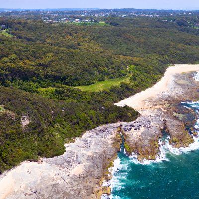 Isolated Dudley Beach on the Newcastle coastline